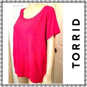 {Torrid} red short sleeved scoop neck sweater, 3X